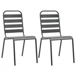 stradeXL Stackable Outdoor Chairs 2 pcs Steel Grey