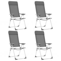 stradeXL Składane krzesła turystyczne, 4 szt., szare, aluminiowe