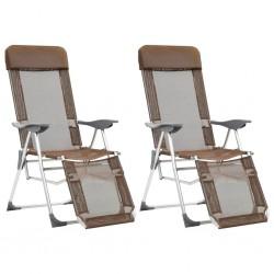 stradeXL Składane krzesła z podnóżkami, 2 szt., aluminium, taupe