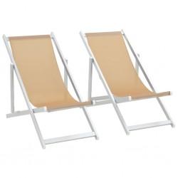 stradeXL Folding Beach Chairs 2 pcs Aluminium and Textilene Cream