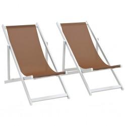 stradeXL Folding Beach Chairs 2 pcs Aluminium and Textilene Brown