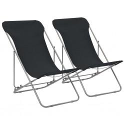 stradeXL Folding Beach Chairs 2 pcs Steel and Oxford Fabric Black