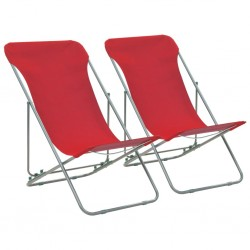 stradeXL Folding Beach Chairs 2 pcs Steel and Oxford Fabric Red