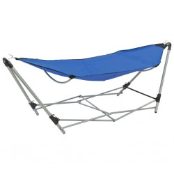 stradeXL Hammock with Foldable Stand Blue