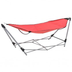 stradeXL Hammock with Foldable Stand Red