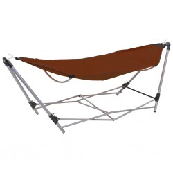 stradeXL Hammock with Foldable Stand Brown