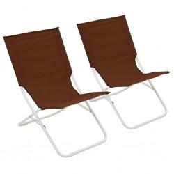 stradeXL Składane krzesła plażowe, 2 szt., brązowe