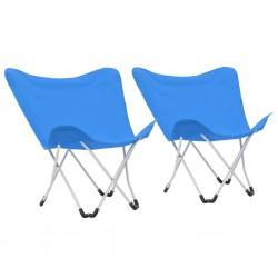 stradeXL Krzesła turystyczne motyle, 2 szt., składane, niebieskie