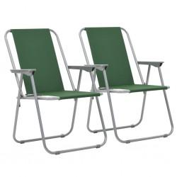 stradeXL Składane krzesła turystyczne, 2 szt., 52 x 59 x 80 cm, zielone
