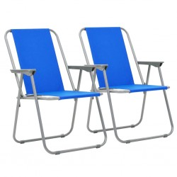stradeXL Składane krzesła turystyczne, 2 szt., 52x59x80 cm, niebieskie