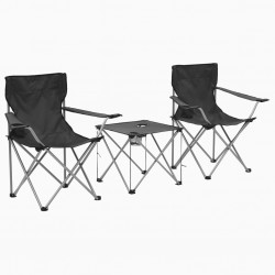 stradeXL Camping Table and Chair Set 3 Pieces Grey