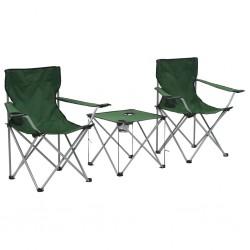 stradeXL Stolik i krzesła turystyczne, 3 elementy, zielone