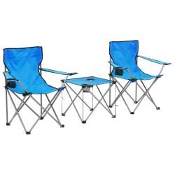 stradeXL Stolik i krzesła turystyczne, 3 elementy, niebieskie