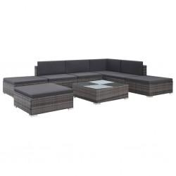 stradeXL 8-cz. zestaw wypoczynkowy do ogrodu, poduszki, rattan PE, szary
