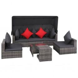 stradeXL 7-cz. zestaw wypoczynkowy do ogrodu, poduszki, rattan PE, szary