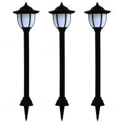 stradeXL Zewnętrzne lampy solarne LED, 3 szt., czarne