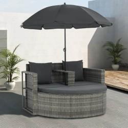 stradeXL 2-osobowa sofa z poduszkami i parasolem, polirattan, szara
