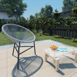 stradeXL Garden Moon Chair Poly Rattan Grey