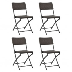 stradeXL Folding Garden Chairs 4 pcs HDPE and Steel Brown
