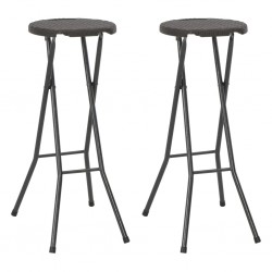 stradeXL Składane stołki, 2 szt., HDPE i stal, brązowe, rattanowy wygląd