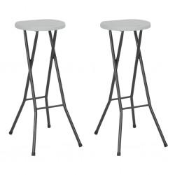 stradeXL Składane stołki barowe, 2 szt., HDPE i stal, białe