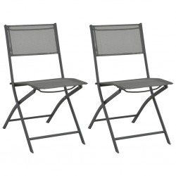stradeXL Folding Outdoor Chairs 2 pcs Steel and Textilene