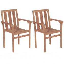 stradeXL Stacking Garden Chairs 2 pcs Solid Teak Wood