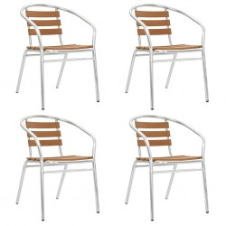 stradeXL Stackable Garden Chairs 4 pcs Aluminium and WPC Silver