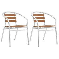 stradeXL Stackable Garden Chairs 2 pcs Aluminium and WPC Silver