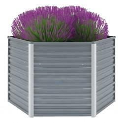 stradeXL Garden Raised Bed Galvanised Steel 129x129x77 cm Grey