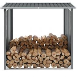stradeXL Wiata na drewno, stal galwanizowana, 172 x 91 x 154 cm, szara