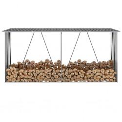 stradeXL Wiata na drewno, stal galwanizowana, 330 x 84 x 152 cm, szara
