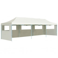 stradeXL Folding Pop-up Party Tent with 5 Sidewalls 3x9 m Cream