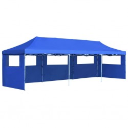stradeXL Folding Pop-up Party Tent with 5 Sidewalls 3x9 m Blue