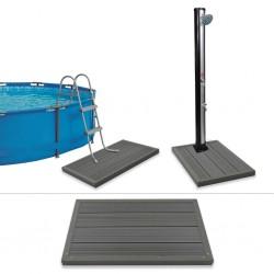 stradeXL Floor Element for Solar Shower Pool Ladder WPC
