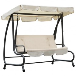 stradeXL Outdoor Swing Chair with Canopy Sand White