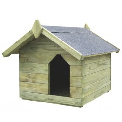 stradeXL Garden Dog House with Opening Roof Impregnated Pinewood