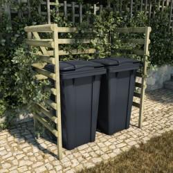 stradeXL Osłona na 2 kosze na śmieci, zielona, 140x80x150 cm, drewno