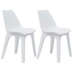 stradeXL Garden Chairs 2 pcs White Plastic