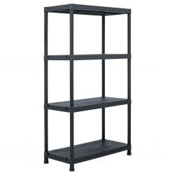 stradeXL Storage Shelf Rack Black 100 kg 60x30x138 cm Plastic