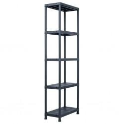 stradeXL Storage Shelf Rack Black 125 kg 60x30x180 cm Plastic