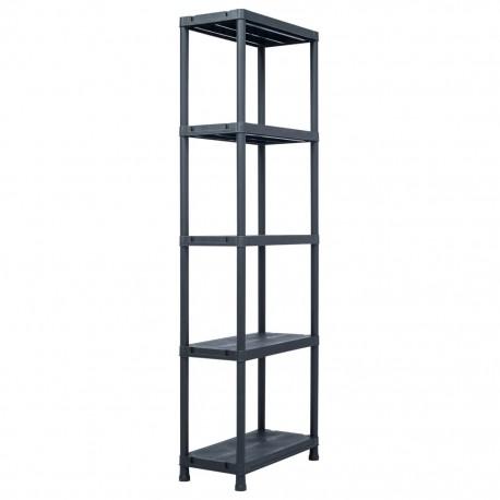 stradeXL Regał magazynowy, czarny, 125 kg, 60x30x180 cm, plastikowy