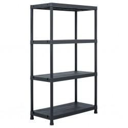 stradeXL Regał magazynowy, czarny, 200 kg, 80x40x138 cm, plastikowy
