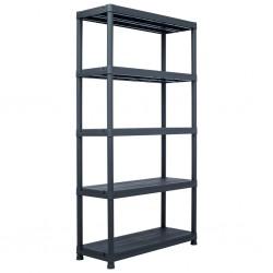 stradeXL Regał magazynowy, czarny, 250 kg, 80x40x180 cm, plastikowy
