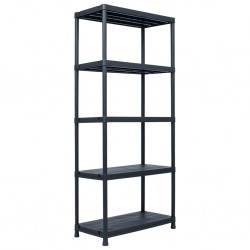 stradeXL Regał magazynowy, czarny, 500 kg, 90x60x180 cm, plastikowy
