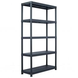 stradeXL Regał magazynowy, czarny, 500 kg, 100x40x180 cm, plastikowy
