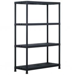stradeXL Regał magazynowy, czarny, 220 kg, 90x40x138 cm, plastikowy