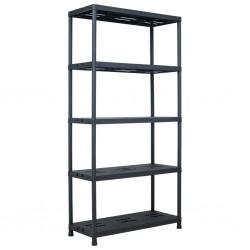 stradeXL Regał magazynowy, czarny, 260 kg, 90x40x180 cm, plastikowy