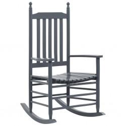 stradeXL Fotel bujany z wygiętym siedziskiem, szary, drewno topolowe
