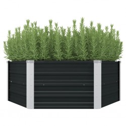 stradeXL Raised Garden Bed Anthracite 129x129x45 cm Galvanised Steel